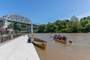 People canoeing on Cuyahoga River