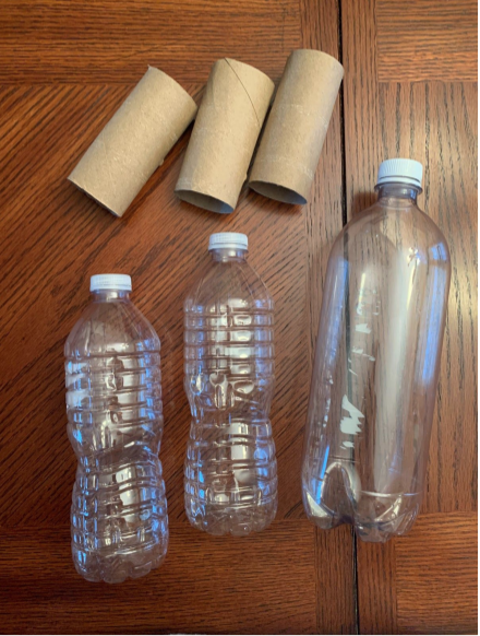 an image of the items you will need. 3 bottles and other crafting supplies.