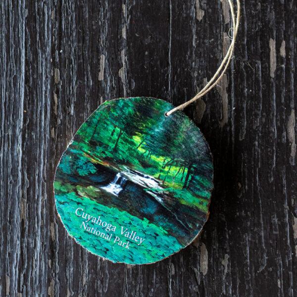 CVNP Wooden Blue Hen Falls Ornament