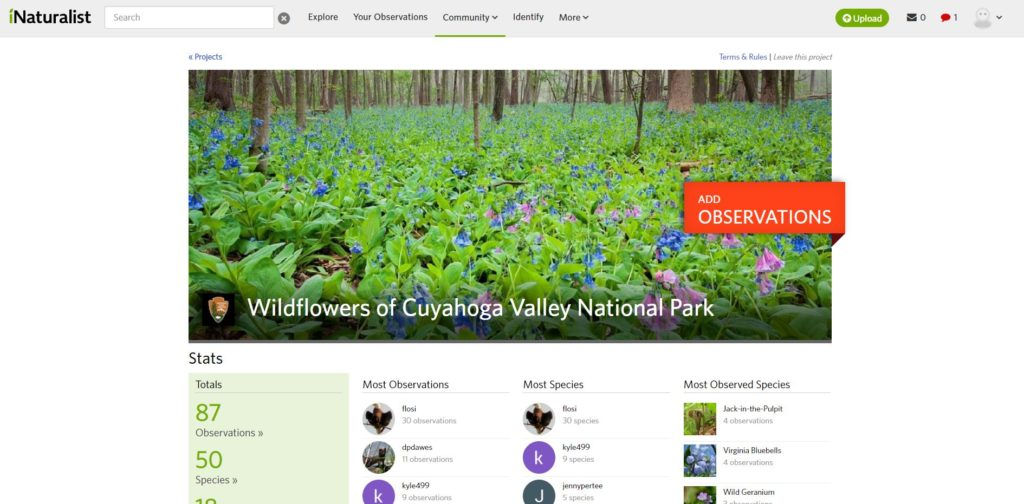"""Wildflowers of Cuyahoga Valley National Park"" webpage. You can easily add an observation, or read some of the most observed species."