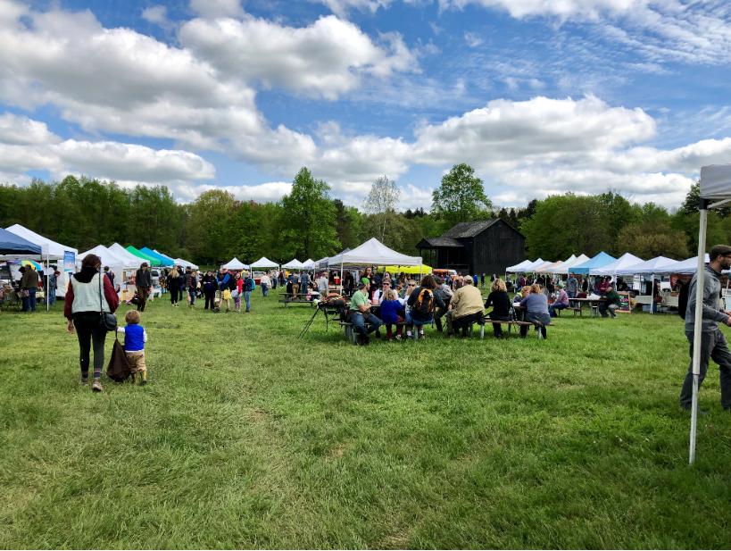 crowds enjoying outdoor market