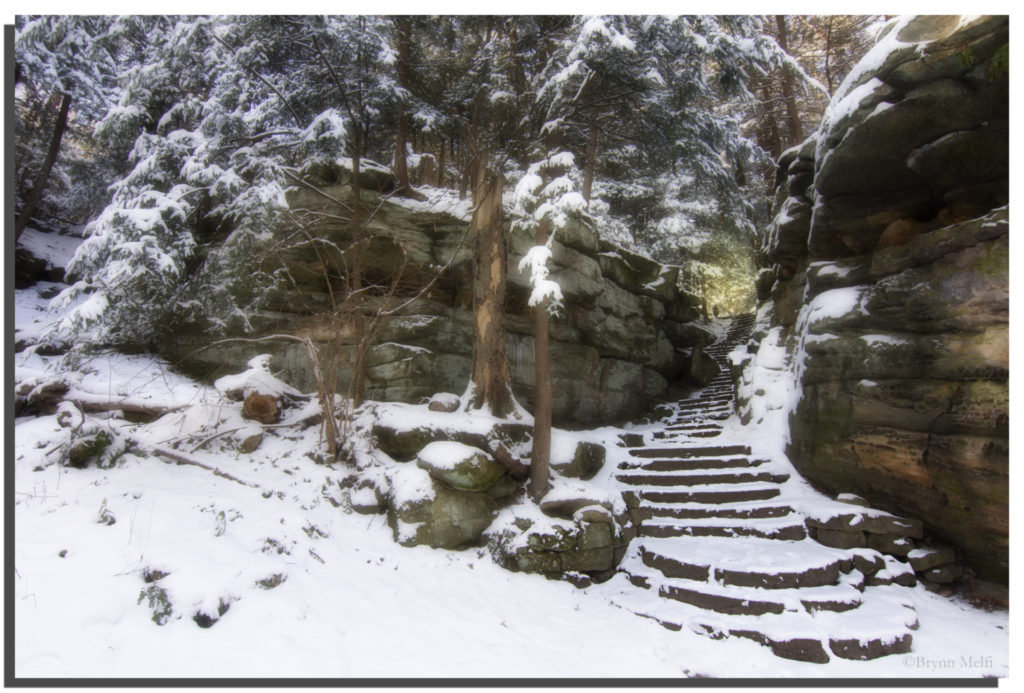 The Ledges' steps covered in a sheet of white snow.