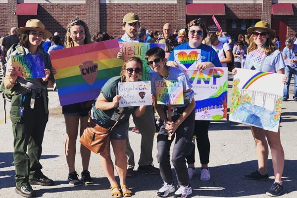 Staff group photo at Gay Pride parade, 2019