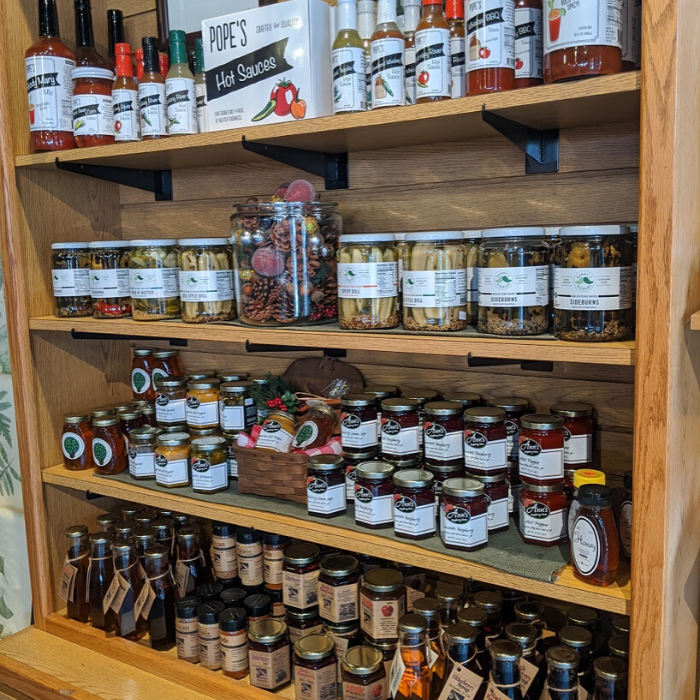 Local products on shelf in store