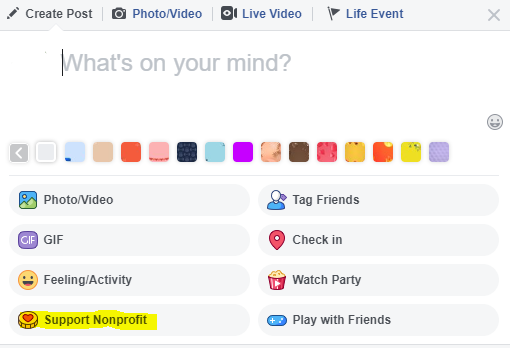 "Screenshot of a ""Create Post"" box on Facebook with more options visible."