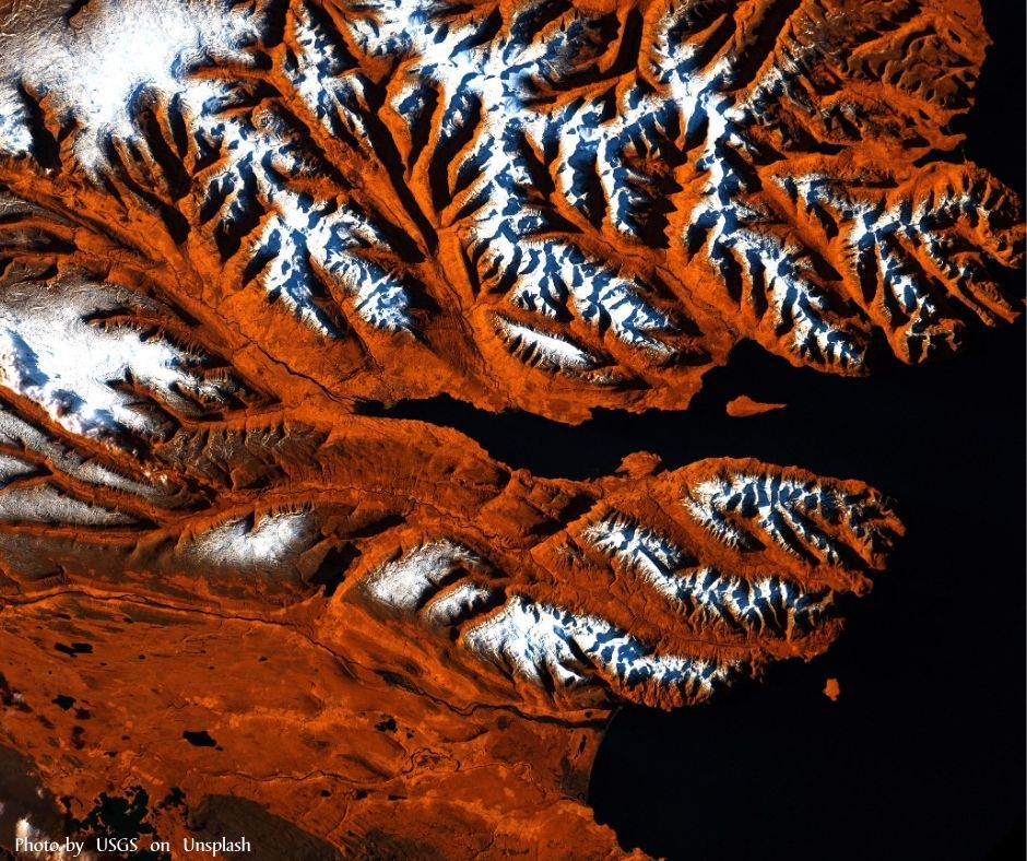 a aerial view of the mountains and the runoff rainwater carved shapes.