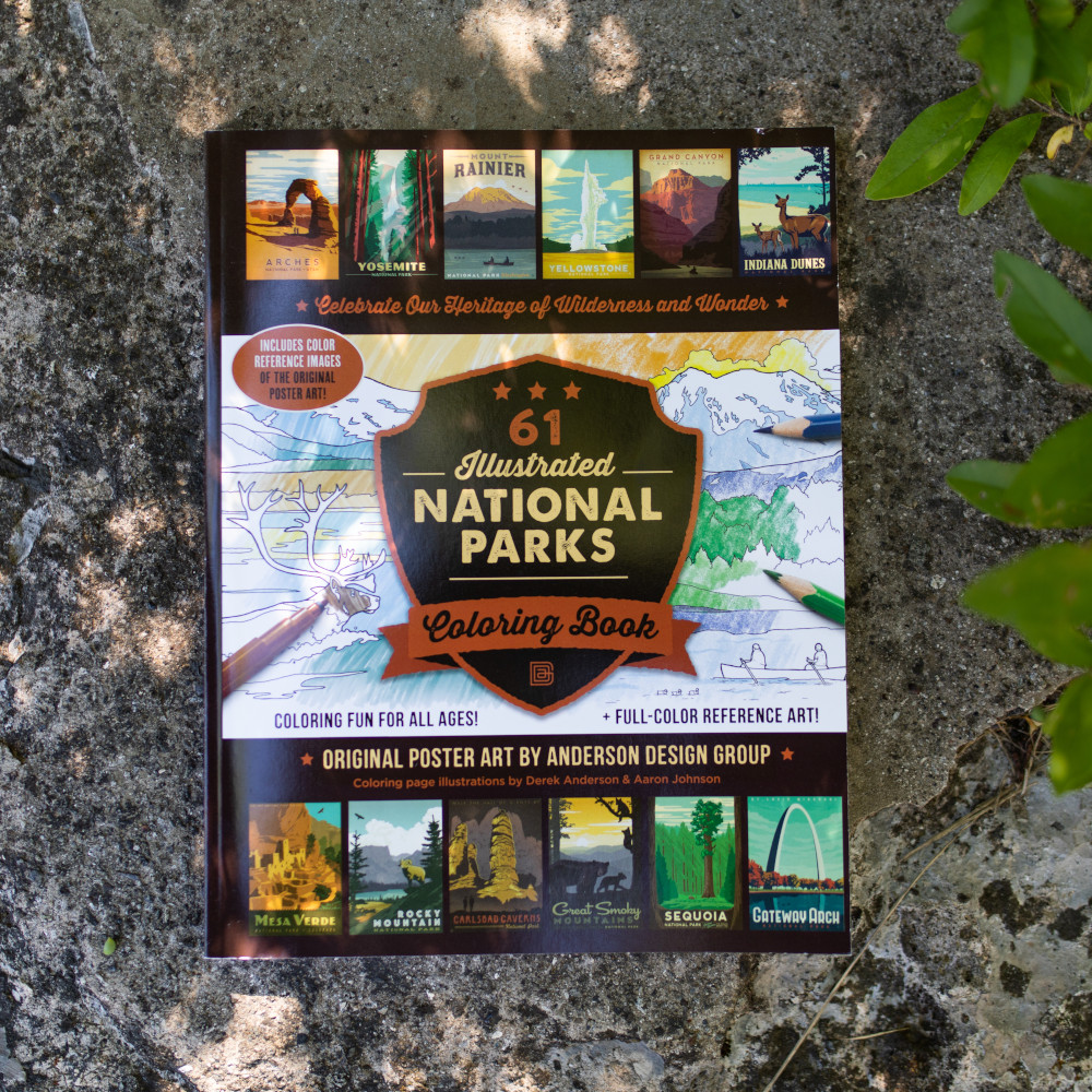 61 Illustrated National Parks Coloring Book
