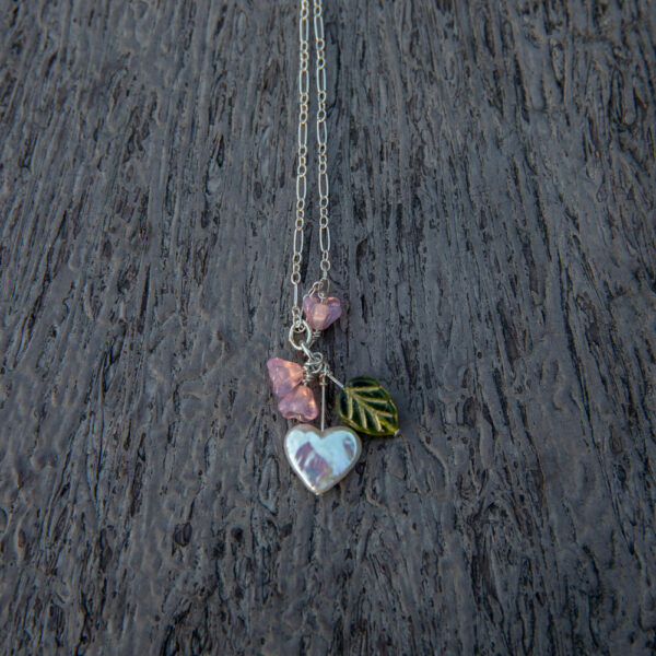 Cluster Pearl Heart & Flower Necklace