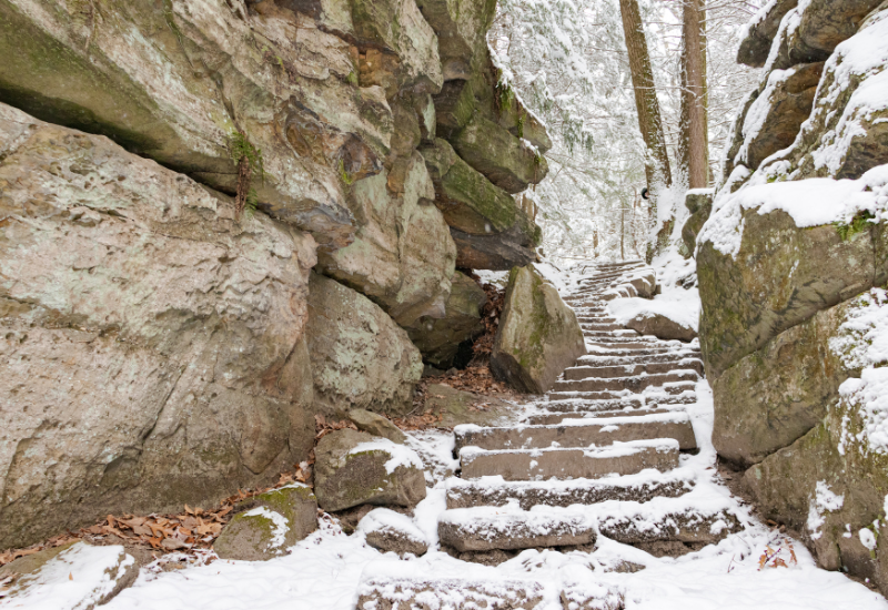 Steps on Ledges trail covered in snow