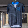 Topographic Cycling Jersey (front) black with blue accents and topography lines