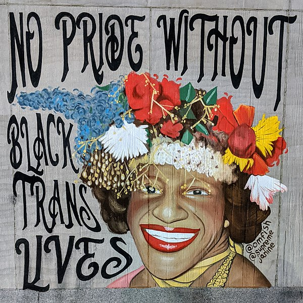 """Mural of Marsha P. Johnson that reads """"No Pride without Black Trans Lives"""""""