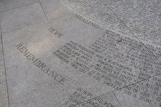 Close-up of engraved text at National AIDS Memorial Grove