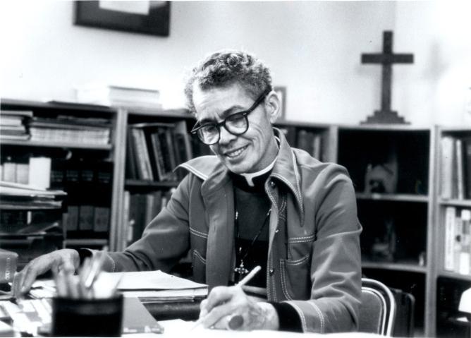 Black and white portrait of Pauli Murray