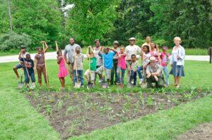 Students plant a pollinator garden in CVNP